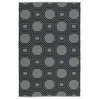 """Indoor/Outdoor Laguna Grey and Black Geo Flat-Weave Rug - 5' x 7'6"""""""