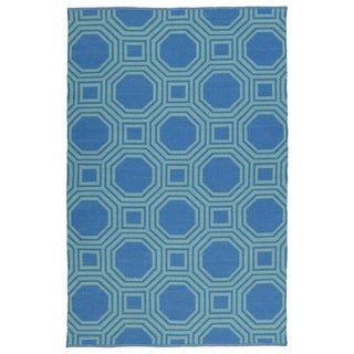 Indoor/Outdoor Laguna Blue and Turquoise Geo Flat-Weave Rug (2'0 x 3'0) - 2' x 3'