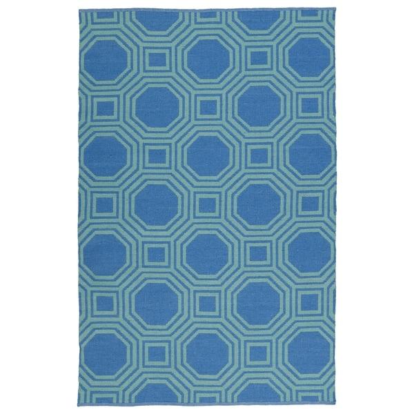 Indoor/Outdoor Laguna Blue and Turquoise Geo Flat-Weave Rug (3'0 x 5'0) - 3' x 5'