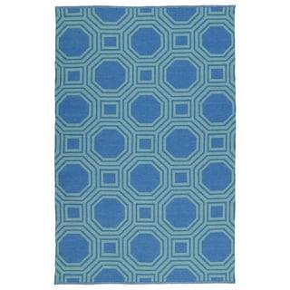 Indoor/Outdoor Laguna Blue and Turquoise Geo Flat-Weave Rug (3'0 x 5'0)