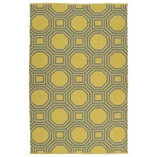 Indoor/Outdoor Laguna Yellow and Grey Geo Flat-Weave Rug (2'0 x 3'0)
