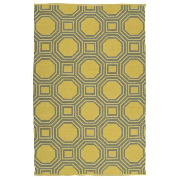 Indoor/Outdoor Laguna Yellow and Grey Geo Flat-Weave Rug - 8' x 10'