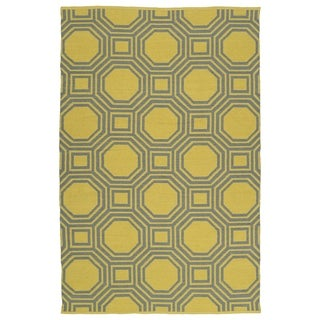 Indoor/Outdoor Laguna Yellow and Grey Geo Flat-Weave Rug (8'0 x 10'0)