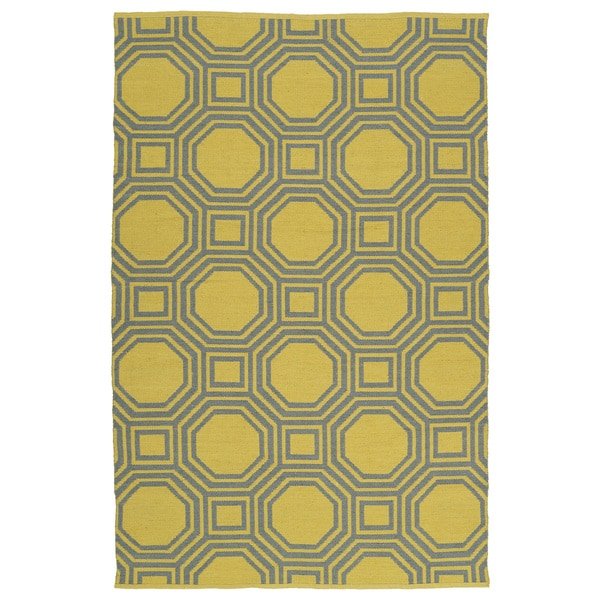 Indoor/Outdoor Laguna Yellow and Grey Geo Flat-Weave Rug - 9' x 12'
