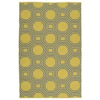 Indoor/Outdoor Laguna Yellow and Grey Geo Flat-Weave Rug - 9' x 12'