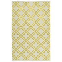 "Indoor/Outdoor Laguna Ivory and Yellow Geo Flat-Weave Rug - 5' x 7'6"""