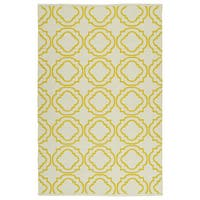 Indoor/Outdoor Laguna Ivory and Yellow Geo Flat-Weave Rug - 8' x 10'