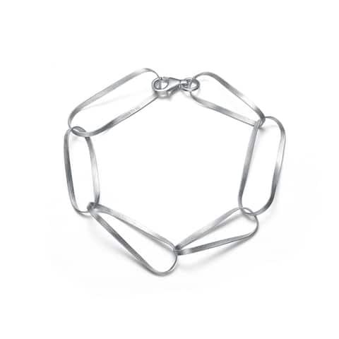 Collette Z Sterling Silver Matte Link Bracelet - White