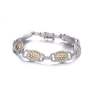 Collette Z Two Tone Sterling Silver Cubic Zirconia Hammered Bracelet