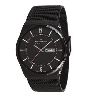 Skagen Men's SKW6006 Black Dial Black PVD Mesh Bracelet Watch