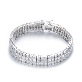 Collette Z Sterling Silver Cubic Zirconia Princess-cut Bracelet