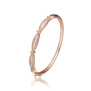 Collette Z Roseplated Sterling Silver Cubic Zirconia Elegant Bangle