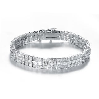 Collette Z Sterling Silver with Rhodium Plated Clear Round and Baguette Cubic Zirconia Three Row Stripe Bracelet