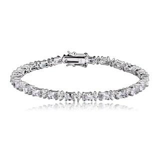 Collette Z Sterling Silver Cubic Zirconia Oval Bracelet - White