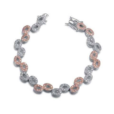 Collette Z Rose and Sterling Silver Oval Shape Bracelet - White