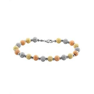 Collette Z Sterling Silver Tri Color Ball Bracelet