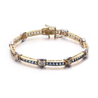 Collette Z Goldplated Sterling Silver Blue and White Cubic Zirconia Bracelet