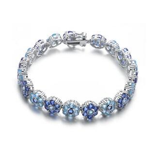 Collette Z Sterling Silver Blue Cubic Zirconia Flower Bracelet