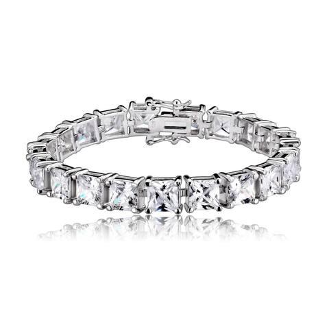 Collette Z Sterling Silver Cubic Zirconia Princess-cut 7 MM Tennis Bracelet - White