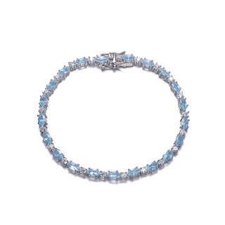 Collette Z Sterling Silver Light Blue Cubic Zirconia Oval Tennis Style Bracelet