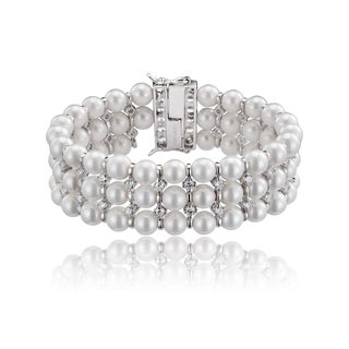 Collette Z Sterling Silver Cubic Zirconia 3 Row Pearl Bracelet