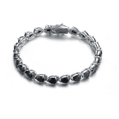 Collette Z Sterling Silver Black Cubic Zirconia Pear-cut Bracelet