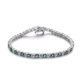 Collette Z Sterling Silver Green and White Tennis Style Bracelet