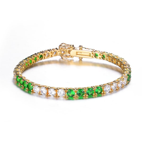 Collette Z Goldplated Sterling Silver Green and White Tennis Style Bracelet