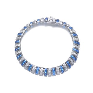 Collette Z Sterling Silver Blue and White Cubic Zirconia Bracelet