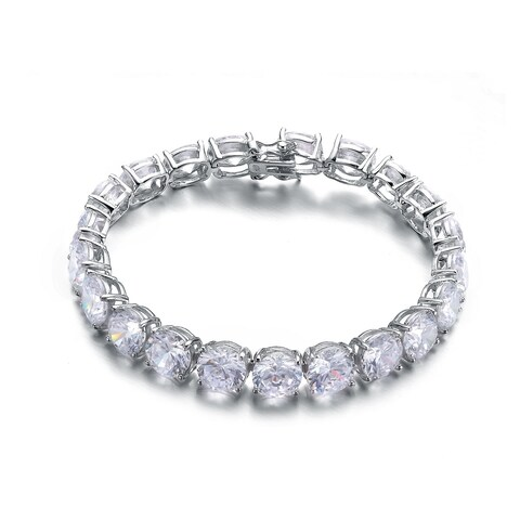 Collette Z Sterling Silver Dazzling Cubic Zirconia 8 MM Tennis Bracelet - White