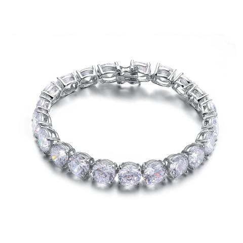 Collette Z Sterling Silver with Rhodium Plated Clear Round Cubic Zirconia 8MM Tennis Bracelet