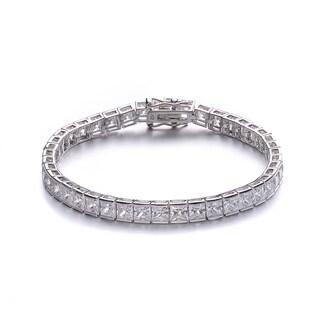 Collette Z Sterling Silver Cubic Zirconia Princess-cut Tennis Bracelet