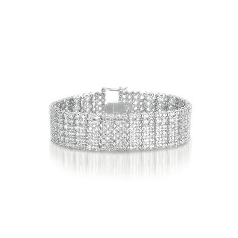 Collette Z Sterling Silver Cubic Zirconia Wide 6 Row Tennis bracelet - White