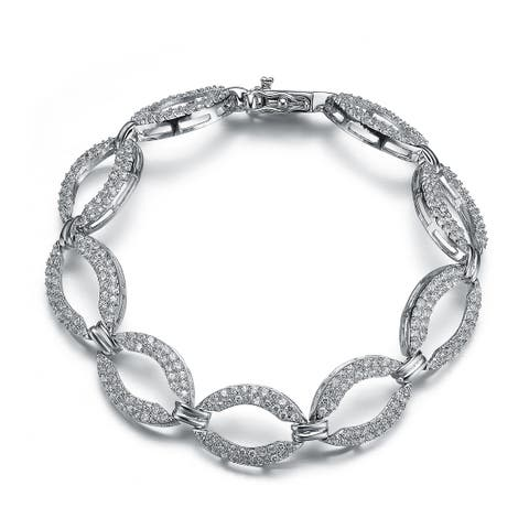 Collette Z Sterling Silver Cubic Zirconia Oval Shape Link Bracelet - White