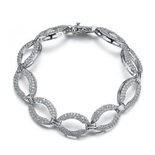 Collette Z Sterling Silver Cubic Zirconia Oval Shape Link Bracelet