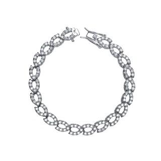 Collette Z Sterling Silver Cubic Zirconia Oval Link Bracelet