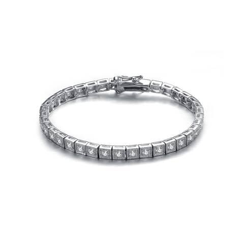 Collette Z Sterling Silver Cubic Zirconia Princess-cut Tennis Bracelet - White