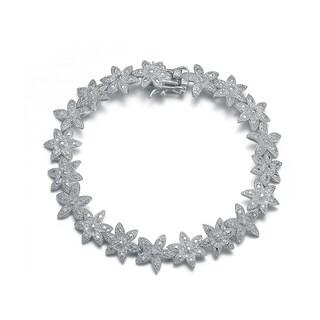 Collette Z Sterling silver Cubic Zirconia Pave-set Flower Bracelet