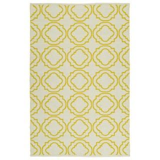 Indoor/Outdoor Laguna Ivory and Yellow Geo Flat-Weave Rug (3'0 x 5'0) - 3' x 5'