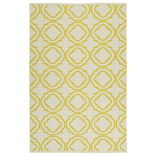 Indoor/Outdoor Laguna Ivory and Yellow Geo Flat-Weave Rug (3'0 x 5'0)