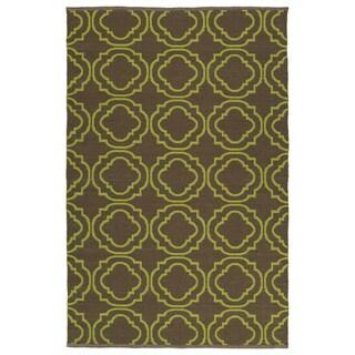 Indoor/Outdoor Laguna Brown and Avacado Geo Flat-Weave Rug (3'0 x 5'0) - 3' x 5'