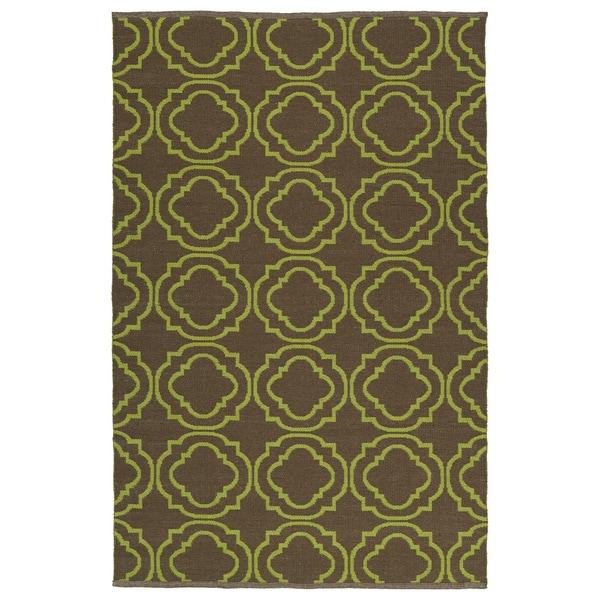 Indoor/Outdoor Laguna Brown and Avacado Geo Flat-Weave Rug - 9' x 12'