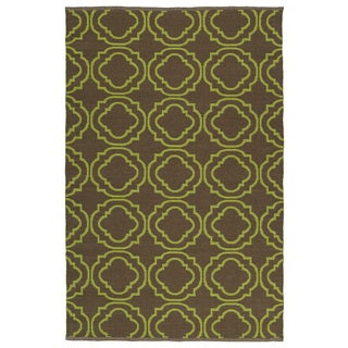 Indoor/Outdoor Laguna Brown and Avacado Geo Flat-Weave Rug (9'0 x 12'0)