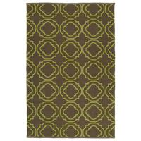 Indoor/Outdoor Laguna Brown and Avacado Geo Flat-Weave Rug - 9' x 12'