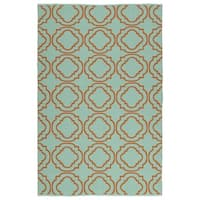Indoor/Outdoor Laguna Turquoise and Orange Geo Flat-Weave Rug - 8' x 10'
