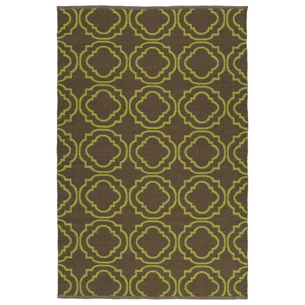 Indoor/Outdoor Laguna Brown and Avacado Geo Flat-Weave Rug - 8' x 10'