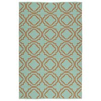 Indoor/Outdoor Laguna Turquoise and Orange Geo Flat-Weave Rug - 3' x 5'