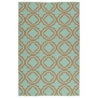 Indoor/Outdoor Laguna Turquoise and Orange Geo Flat-Weave Rug - 5' x 7'6