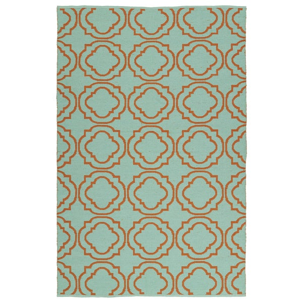 Indoor/Outdoor Laguna Turquoise and Orange Geo Flat-Weave Rug - 9' x 12'