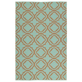 Indoor/Outdoor Laguna Turquoise and Orange Geo Flat-Weave Rug (9'0 x 12'0)